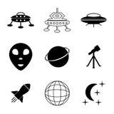 Установленные значки Ufo и космоса Стоковые Изображения RF