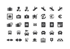 установленные иконы авиапорта стоковые изображения