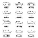 установленные иконы автомобиля Стоковое фото RF