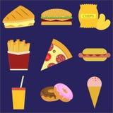 установленные иконы быстро-приготовленное питания иллюстрация вектора, eps10, на сини Стоковая Фотография