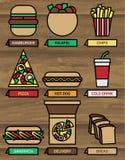 установленные иконы быстро-приготовленное питания Стоковое Фото