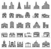 установленные иконы здания стоковое изображение