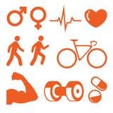 установленные иконы здоровья пригодности Стоковая Фотография