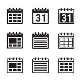 установленные иконы календара иллюстрация вектора
