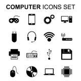 установленные иконы компьютера Символы силуэта технологии вектор Стоковые Изображения