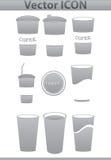Установленные иконы кофе вектора коричневые. Бумажный стаканчик и кафе Стоковое фото RF