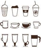 установленные иконы кофе Кнопки для сети и apps вектор Стоковые Изображения RF