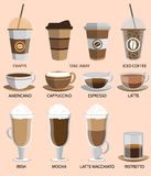 установленные иконы кофе Кнопки для сети и apps вектор Стоковое фото RF