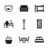 установленные иконы мебели Стоковые Изображения