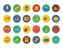 Установленные иконы нот Звучите, инструменты музыки, dj, партия Стоковое Изображение RF