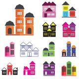 установленные иконы дома иллюстрация вектора