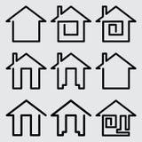 установленные иконы домов Стоковые Фотографии RF