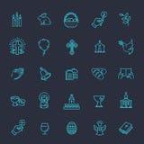 установленные иконы пасхи Комплект значка христианства Стоковое Изображение
