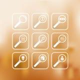 Установленные иконы поиска Стоковые Изображения