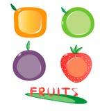 установленные иконы плодоовощ Стоковые Изображения RF