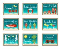 установленные иконы пляжа Стоковые Изображения RF