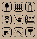 установленные иконы сада Стоковое фото RF