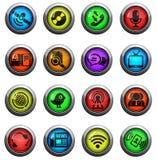 установленные иконы связи Стоковая Фотография