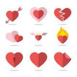 установленные иконы сердца Стоковое Изображение RF
