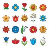 установленные иконы цветка Современная тонкая линия контура Стоковое Изображение RF