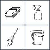 установленные иконы чистки Стоковое Фото