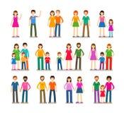 Установленные иконы людей Семья, влюбленность, символы детей также вектор иллюстрации притяжки corel Стоковое фото RF