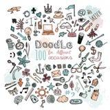 Установленные иконы Doodle Стоковое Фото