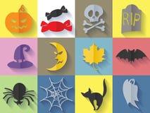установленные иконы halloween Плоский стиль Стоковые Изображения