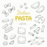 Установленные итальянские макаронные изделия на белой предпосылке Стоковые Изображения RF