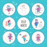 установленные иллюстрации рождества Животные и снеговик леса Стоковое фото RF