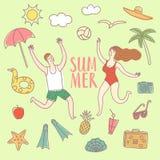 Установленные иллюстрации doodle летних каникулов и пары Стоковые Изображения