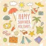 Установленные иллюстрации doodle летних каникулов красочные Стоковое Изображение