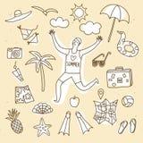 Установленные иллюстрации doodle летних каникулов Стоковая Фотография