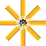 Установленные карандаши цвета изолированными на дизайне звезды Стоковая Фотография