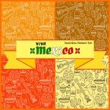 Установленные картины вектора безшовные Рукописные слова Viva Мексика иллюстрация штока