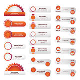 Установленные кнопки вебсайта дела красные Стоковое фото RF