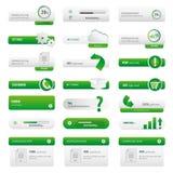 Установленные кнопки зеленого цвета вебсайта дела Стоковая Фотография RF