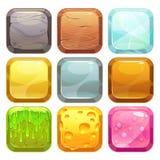Установленные кнопки, значки шаржа квадратные app Стоковое Изображение RF