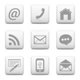 Установленные кнопки контакта, значки электронной почты Стоковое Фото