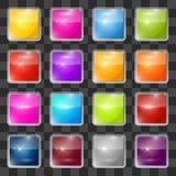 Установленные кнопки красочного квадрата вектора стеклянные Стоковое Изображение