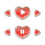 Установленные кнопки сердца Стоковые Изображения RF