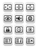 Установленные кнопки экрана монитора tv компьютера Стоковая Фотография
