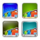 Установленные кнопки App. Домашние значки. Стоковая Фотография