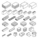 Установленные конструкционные материалы иллюстрация вектора