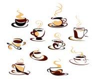 установленные кофейные чашки Стоковое Фото