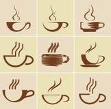 установленные кофейные чашки Стоковое фото RF