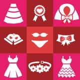 Установленные красные значки свадьбы Стоковые Фотографии RF