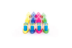 Установленные красочные зубные щетки Стоковые Изображения RF
