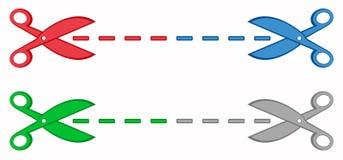 Установленные красочные ножницы с пунктирными линиями Стоковые Фото