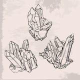 Установленные кристаллы чертежа руки Стоковое Изображение RF